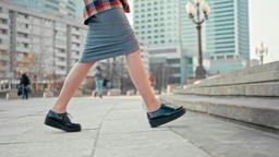 Woman Walking Upstairs Outdoors. Female Legs in Platform Shoes Climbing Up Footage