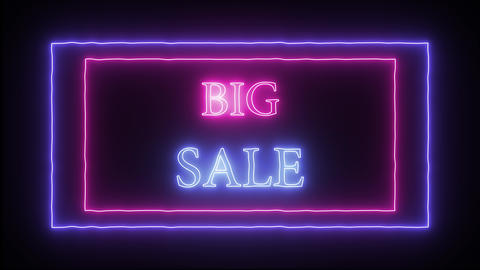 "Animation flashing neon advertising ""Big Sale"" Live Action"