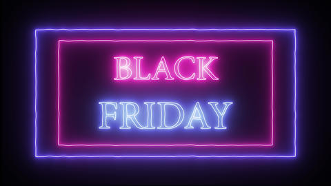 "Animation flashing neon advertising ""Black Friday"" Live Action"