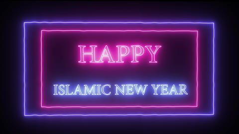 "Animation neon sign ""Happy New Year"" Footage"