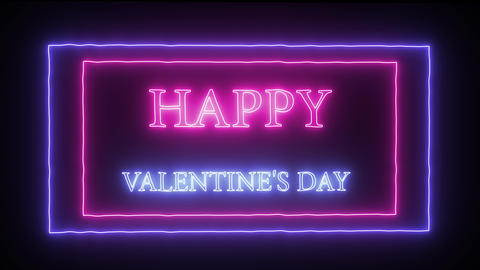 """Animation neon sign """"Happy Valentine's Day"""" Live Action"""