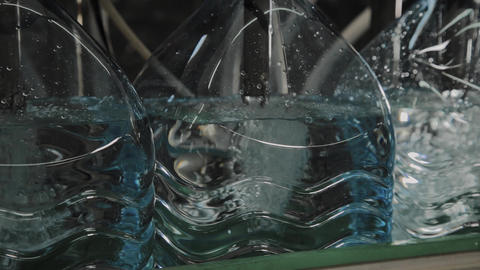 Production line of drinking water and carbonated drinks,... Stock Video Footage