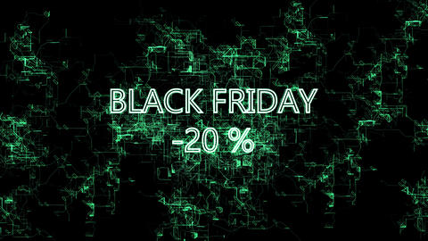 "Digital network. Sign ""Black Friday -20 percent"" Footage"