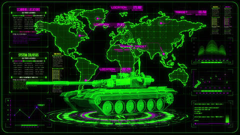 3D Green Magenta Tank HUD Interface Motion Graphic Element Animation