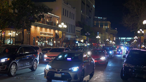 Historic Gaslamp Quarter San Diego by night - CALIFORNIA, USA - MARCH 18, 2019 Footage
