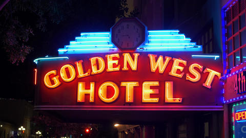 Golden West Hotel at historic Gaslamp Quarter San Diego by night - CALIFORNIA Footage