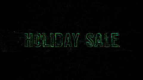 "3D animation data digital code with ""Holiday Sale"" text Footage"