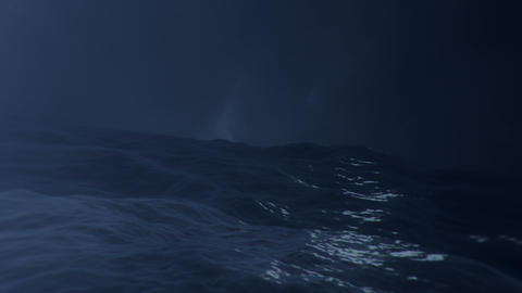 Big Sea Storm and Lightning Storm in the Middle of the Sea Live Action