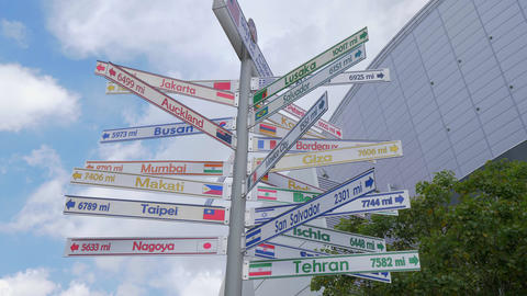 Direction signs to the sister cities of Los Angeles - CALIFORNIA, USA - MARCH 18 Live Action