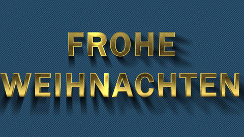 Colored particles turn into blue background and text - Frohe Weihnachten Live Action
