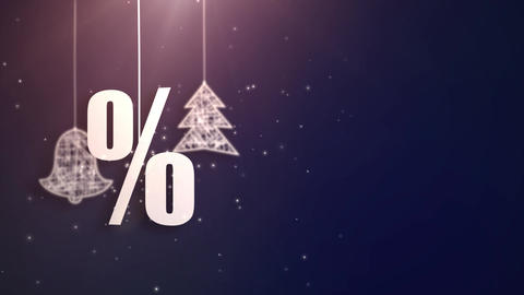 percent christmas symbols hanging on strings an falling... Stock Video Footage