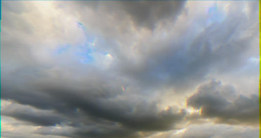 Glitch effect. Clouds in the light of the setting sun. Time Lapse. Natural HDR Footage