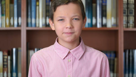 portrait shot of the cute schoolboy standing near the bookshelf in the library Live Action