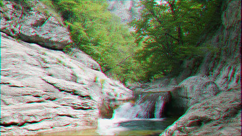 Glitch effect. Bath Youth, water the Grand Canyon of Crimea Footage