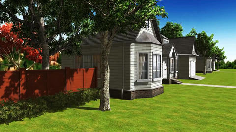 07 animated 3d of street with houses, pavements and trees Videos animados