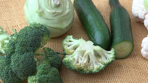 Assortment green vegetables. Broccoli, cauliflower, kohlrabi, cucumber, leek. Healthy eating Footage