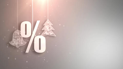 percent christmas symbols hanging on strings an falling from the ceiling Animation