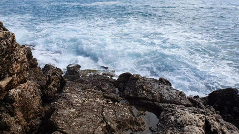 Relaxing Sea Waves Crashing On Rocks Footage