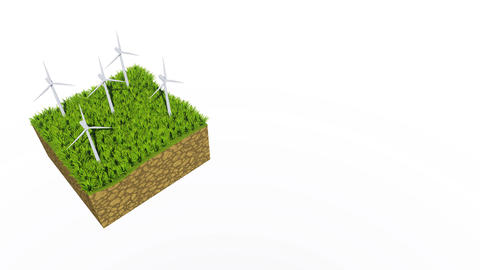 Rotating wind turbine 3D animation with copy space CG動画素材