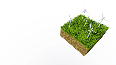 Rotating wind turbines loopable 3D animation Animación