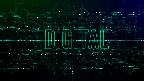 Animation of digital space with 'Digital' text Live Action