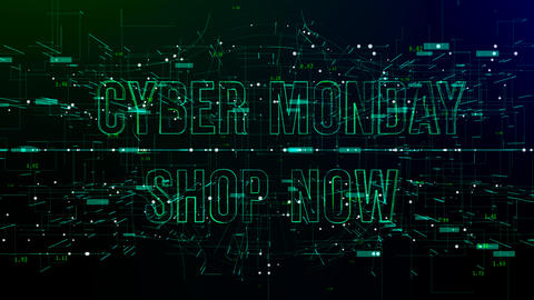 Animation of digital space with 'Cyber Monday Shop Now' text Footage