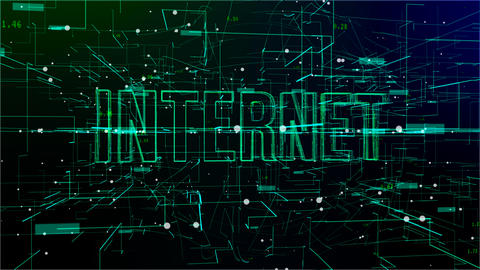 Animation of digital space with 'Internet' text Footage