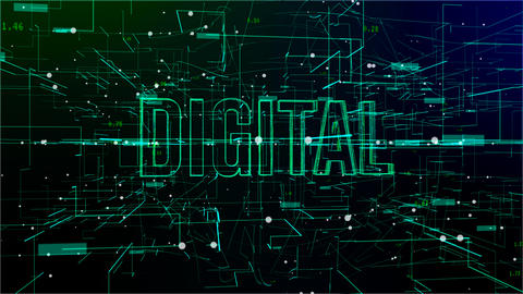 Animation of digital space with 'Digital' text Footage