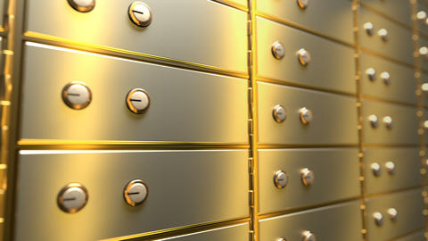 [alt video] Golden safe deposit boxes in a bank vault room, seamless...