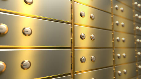 Golden safe deposit boxes in a bank vault room, seamless loop Animation