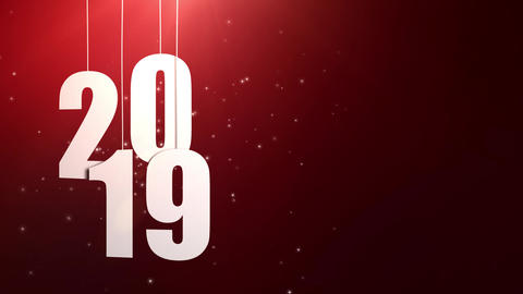 Happy New Year 2019 white paper numbers hanging on... Stock Video Footage