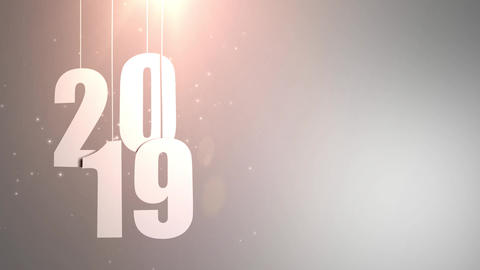 Happy New Year 2019 white paper numbers hanging on strings falling down white Animation