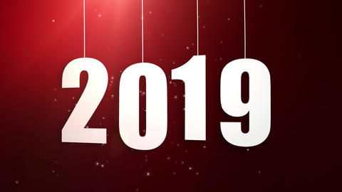Happy New Year 2019 white paper numbers hanging on strings falling down red Animation
