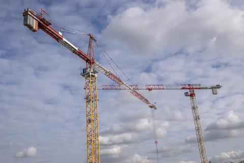 Cranes At A Construction Site At Diemen The Netherlands 2019 Fotografía