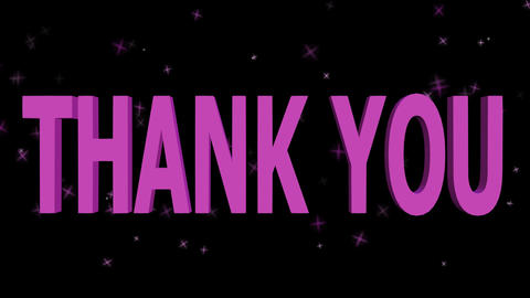 3d purple thank you outro with flying purple particles, falling rotating purple Animation