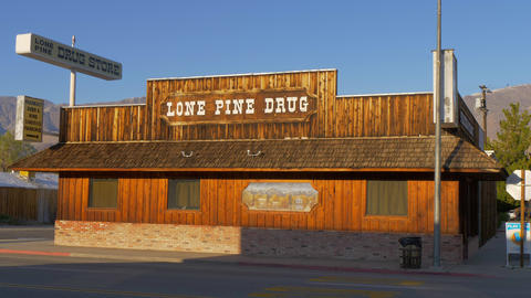Wooden Drug store in the historic village of Lone Pine - LONE PINE CA, USA - Live Action
