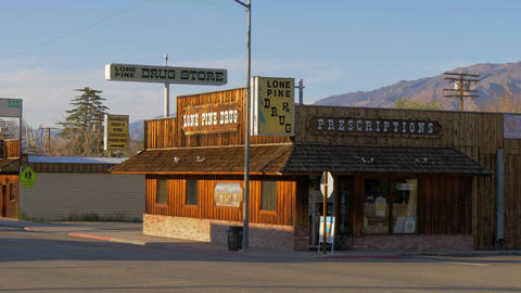 Drug store in the historic village of Lone Pine - LONE PINE CA, USA - MARCH 29 Live Action