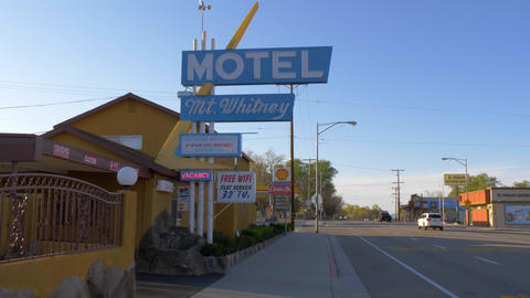 Mount Whitney Motel in the historic village of Lone Pine - LONE PINE CA, USA - Footage