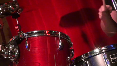 Drummer man playing drums - Close up of drumming man Stock Video Footage