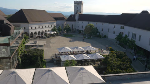Aerial - Courtyard of Ljubljana Castle with a restaurant Footage