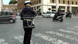Italy Rome 025 police officer in Via della Conciliazione street Footage