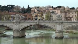 Italy Rome 029 historic bridge Ponte Vittorio Emanuele II Footage