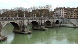 Italy Rome 030 historic bridge over Tiber river Footage