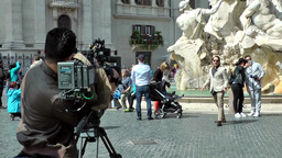 Italy Rome 048 television team on public square Piazza Navona Footage
