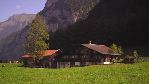 Picturesque Swiss farm in Lauterbrunnen Valley Footage