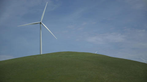 Single massive turbine in a Californian wind farm Footage