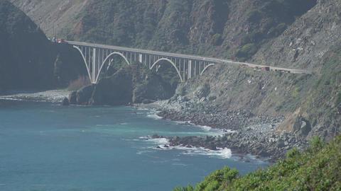 Closer shot of historic bridge in Big Sur Footage