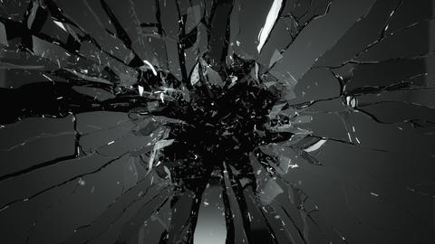 Glass shattered and cracked in slow motion. Alpha matte 4k Animation