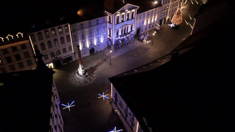 Aerial - High angle view of city streets Christmas lighting display Footage