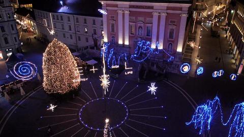 Aerial - Christmas lighting display Footage